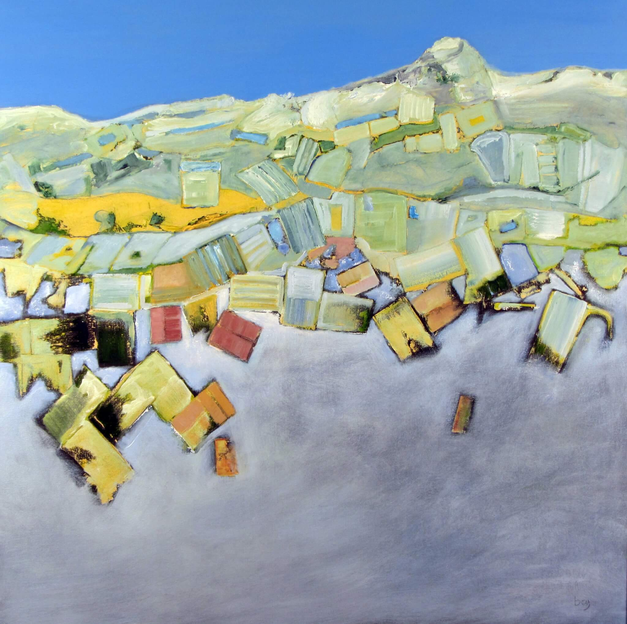 """""""Land of the Mountain and the Flood""""; Oil, beeswax, canvas; 90 x 90 cms; SOLD"""