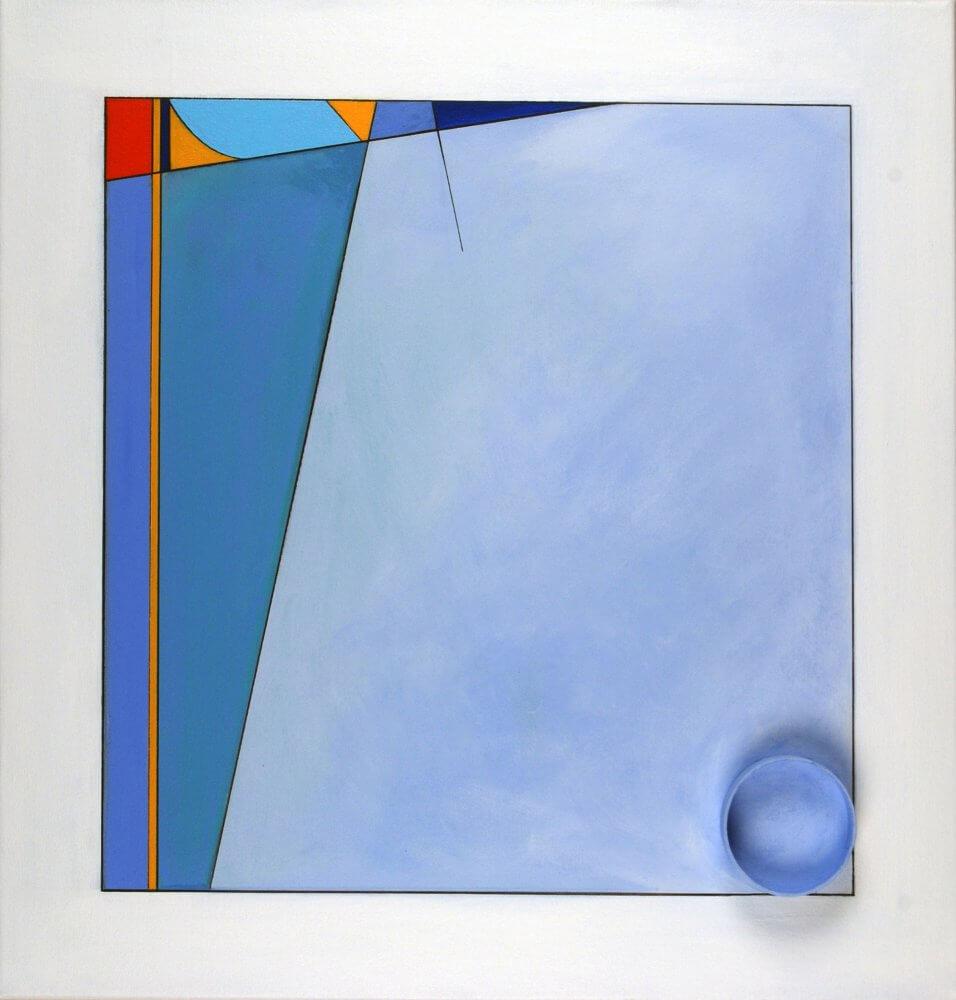 """Nulla in Mundo""; Acrylic on canvas, with cardboard cylinder; 58.5 x 56 cms; original artwork for sale £250"