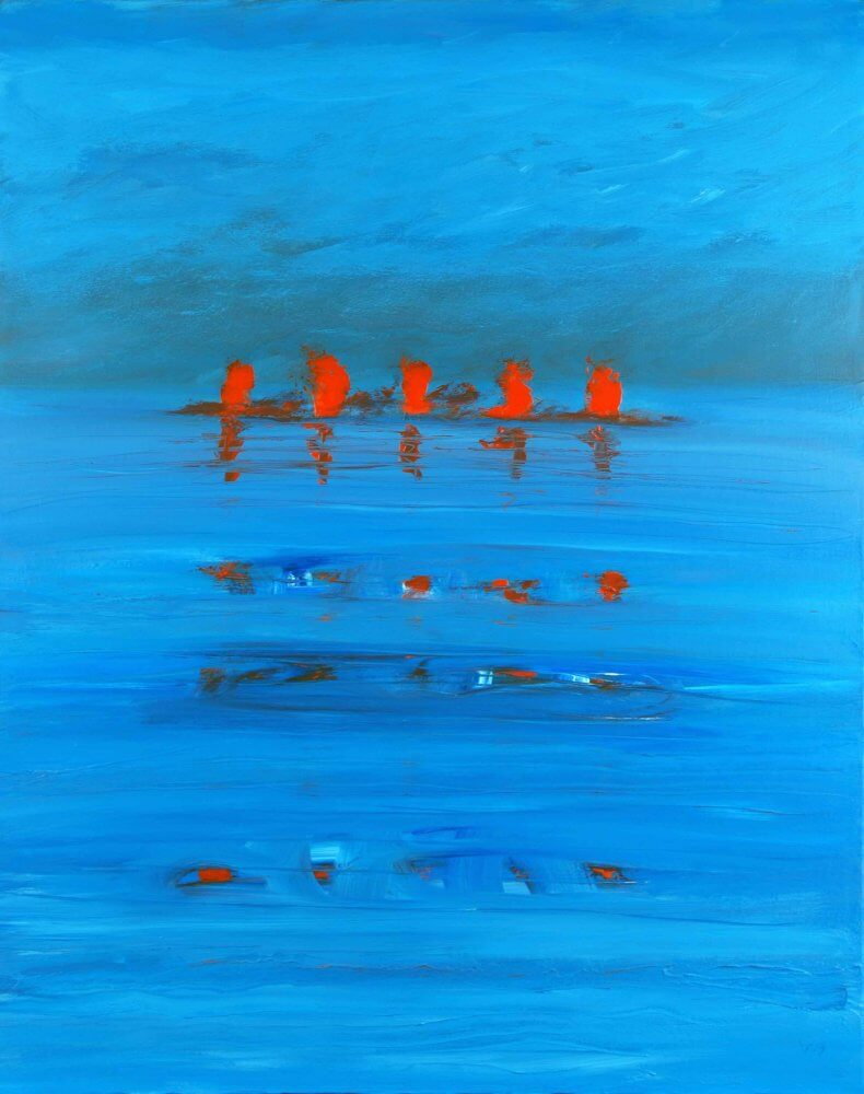 """""""Red, Hot and Blue""""; Oil and Beeswax on block canvas, 100x80 cms; original artwork for sale £500"""