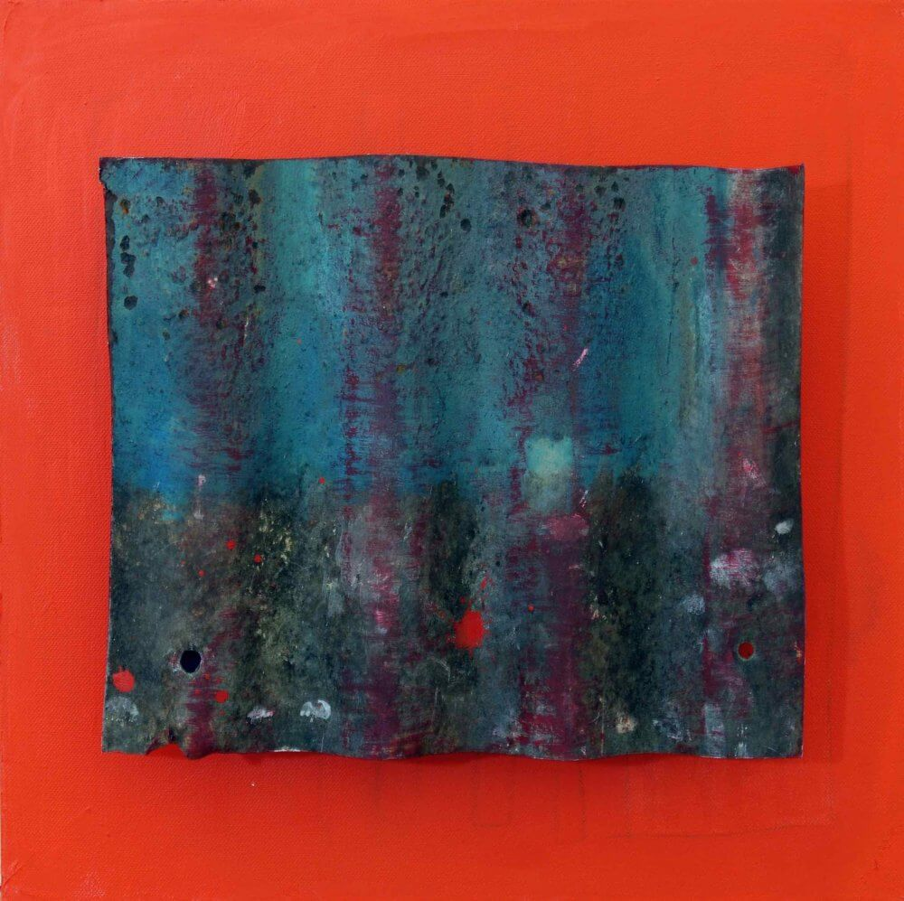 'Untitled #16';  Corrugated iron on canvas; 41x41 cms; SOLD